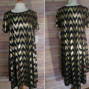 LulaRoe Elegant Carly gold foil Dress L large NWT